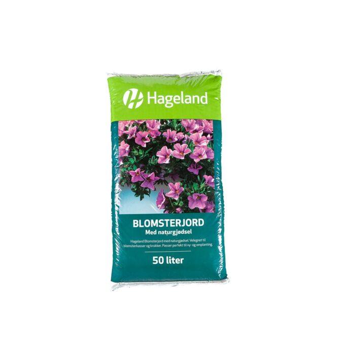 pose med Hageland blomsterjord 50 liter