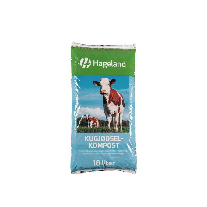 pose med Hageland kugjødselkompost 18 liter