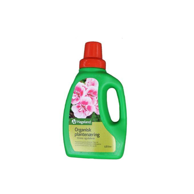 flaske med Hageland organisk plantenæring 0,8 liter