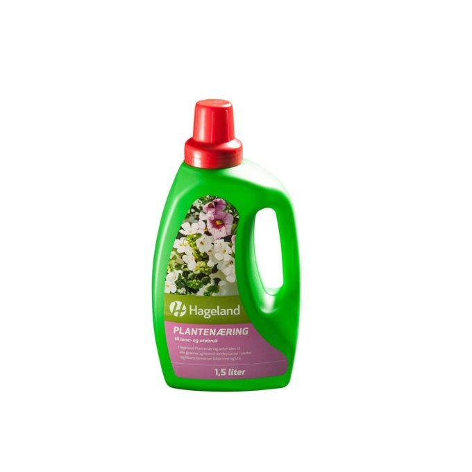 flaske med Hageland plantenæring 1,5 liter
