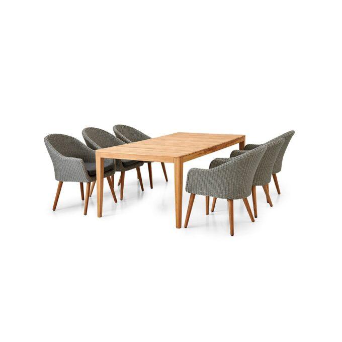 Spisebord Agios i teak med stoler Alford i grå kunstrotting