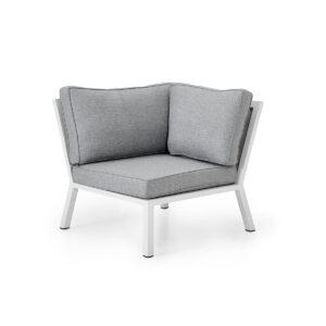 Hjørndel Belfort sofamodul i hvit, matt aluminium