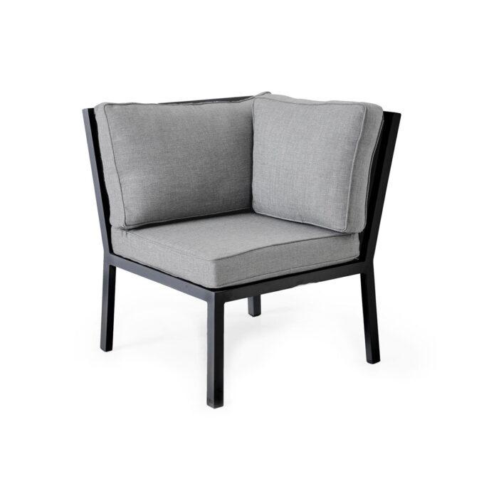 Hjørnedel Bergerac med sort aluminiumsramme og lysgrå rygg-/seteputer