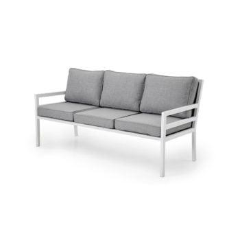Sofa 3-seter Bergerac i hvit matt aluminium
