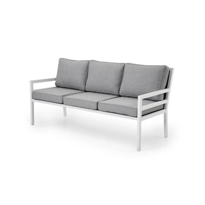 Bergerac 3-seters sofa med pulverlakkert hvit matt aluminiumsramme, grå textilene i sete og perlegrå puter i olefin.