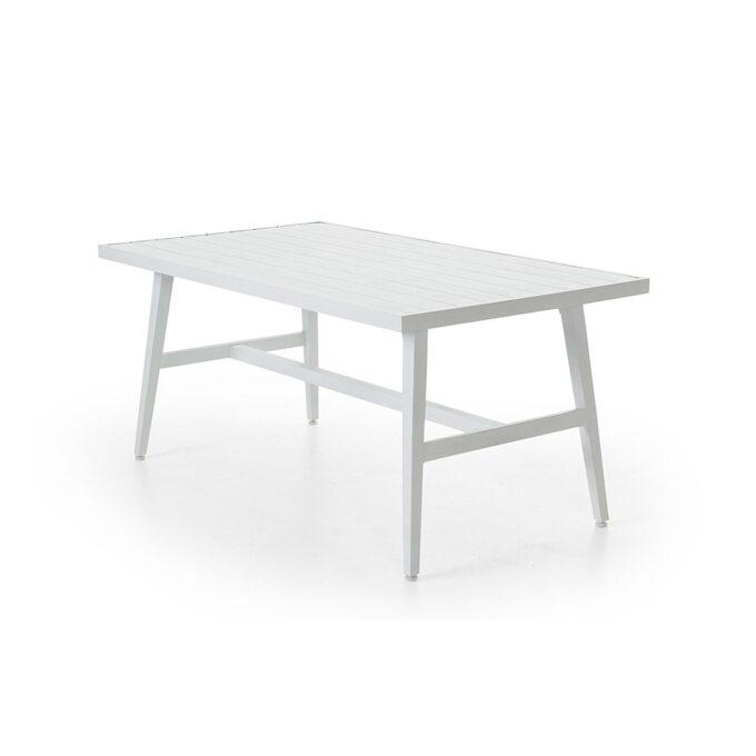 Bergerac sofabord med pulverlakkert matt hvit aluminiumsramme. Bordplate i valset aluminium