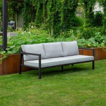 Sofa 3-seter Belfort sort aluminium