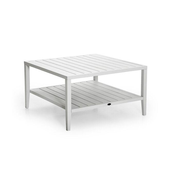 Sofabord Chelles 90x90 i hvit matt aluminium