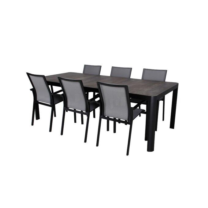 Spisegruppe Dakota i sort matt aluminum med hvit bakgrunnsbilde