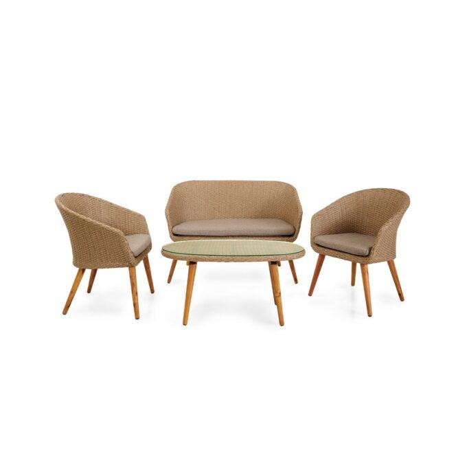 Sofagruppe Danvers i naturfarget kunstrotting med hvit bakgrunnsbilde