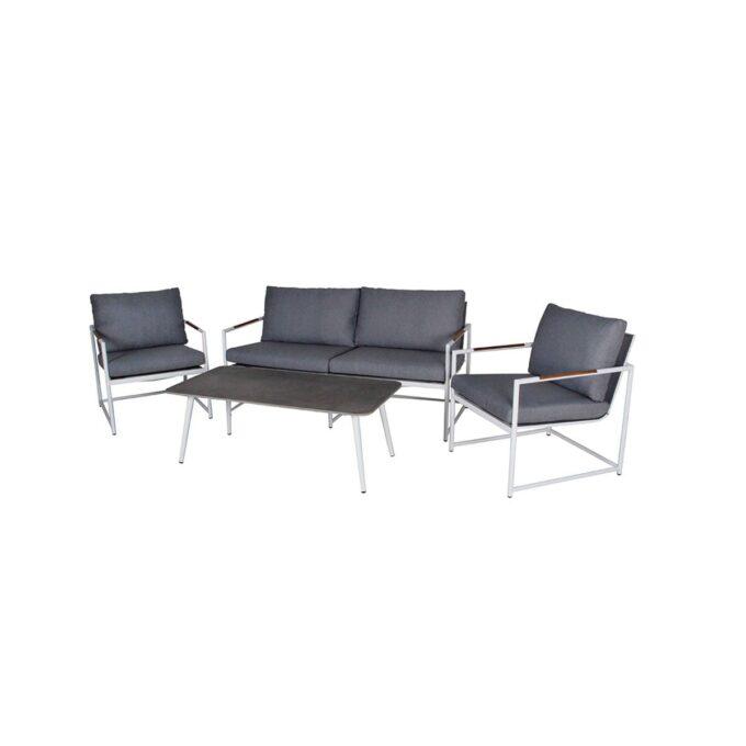 Sofagruppe Dayton i hvit aluminum med hvit bakgrunnsbilde
