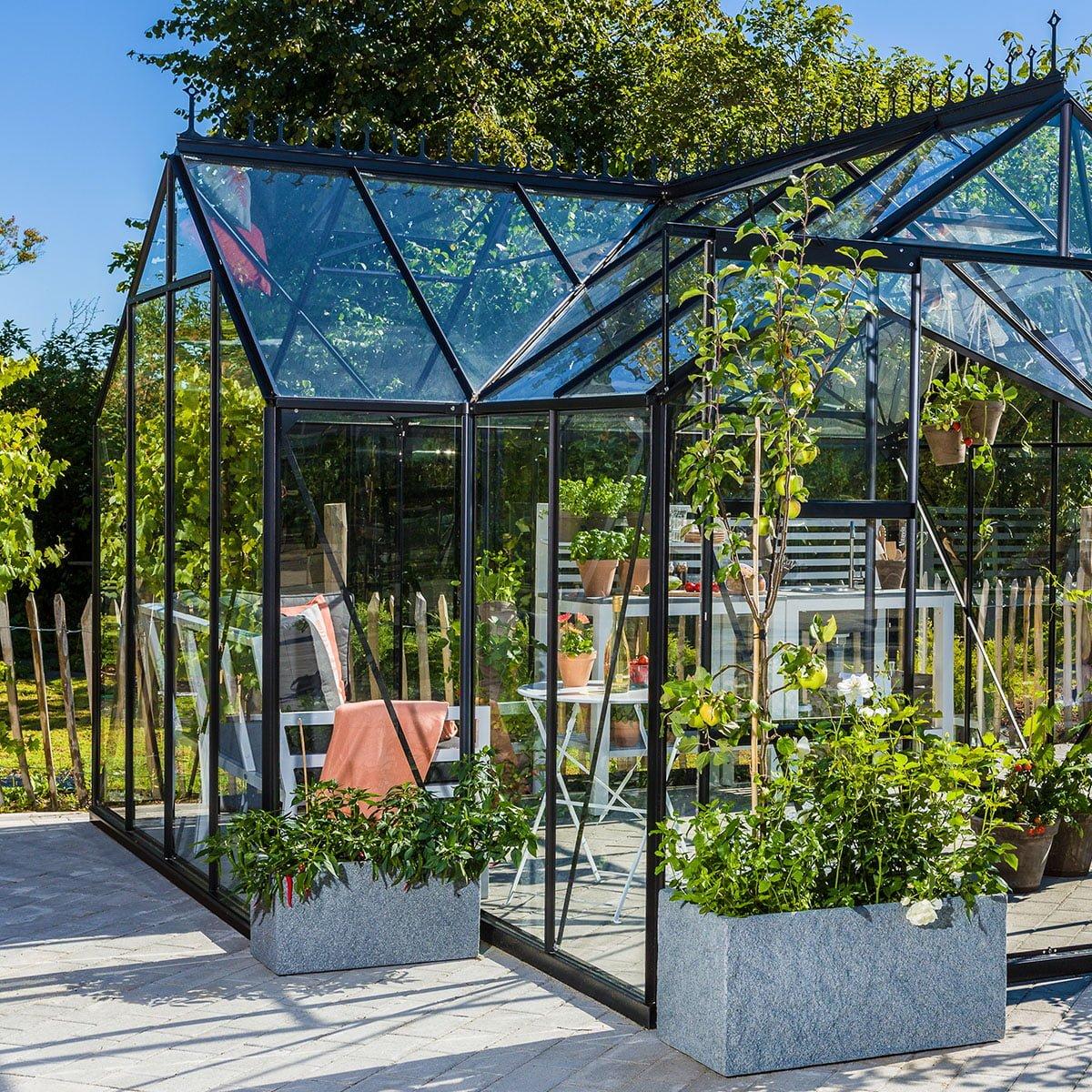 Ypperlig Drivhus Hageland, sortlakkert med herdet 3 mm glass | Hageland LH-45