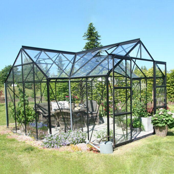 Sirius sortlakkert drivhus 13m2 med herdet 3mm glass