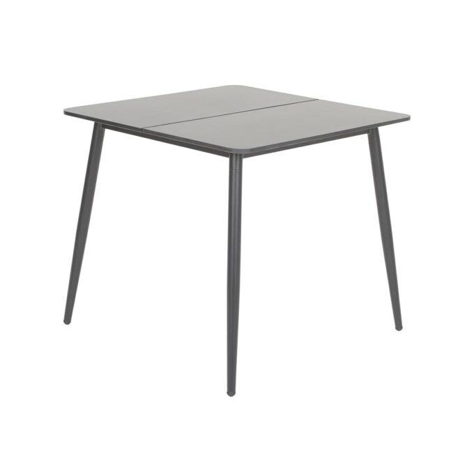 Nærbilde av spisebord Formosa i sort matt aluminium med delt duranite bordplate med hvit bakgrunnsbilde