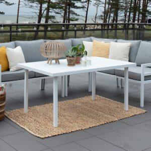 Bergerac sofabord med pulverlakkert matt hvit aluminiumsramme. Bordplate i valset aluminium.