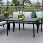 Bergerac sofabord i pulverlakkert sort matt aluminumsramme