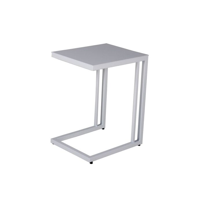 Sidebord i matt sort aluminium. Solseng i matt sort aluminium med grå textiline. Stilfull og enke