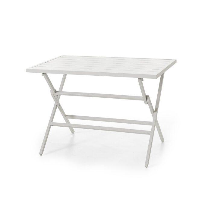 Klappbord Wilkie 120x72 hvit matt aluminium