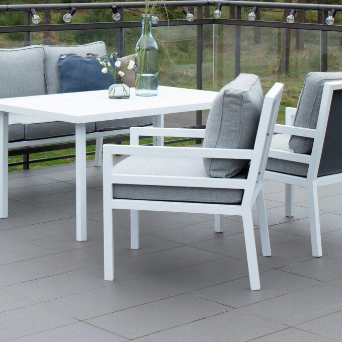 Hagestoler og sofabord Bergerac i hvit matt aluminium
