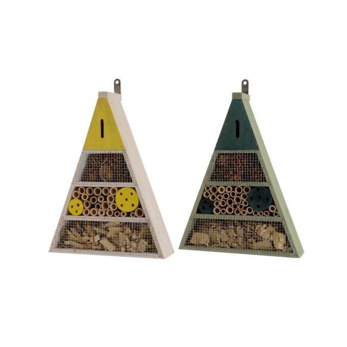 to trekantede insektshotell i gult og grønt