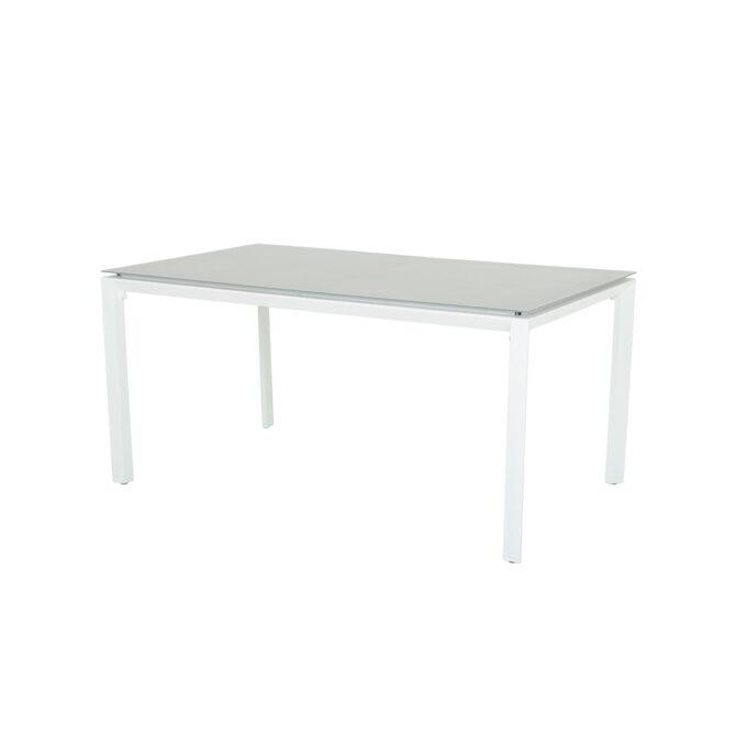 Spisebord Mendoza i matt hvit aluminium med hvit bakgrunnsbilde