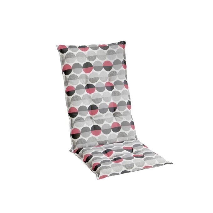 Naxos pute med svarte, grå og rosa sirkler delt i to