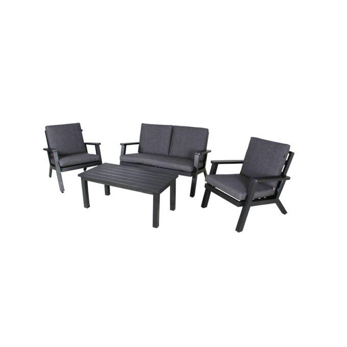 Sofagruppe Orbit i sort aluminium med hvit bakgrunnsbilde