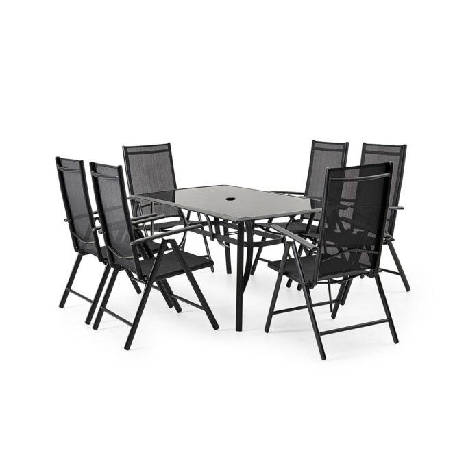 Spisegruppe Primus i sort aluminium med hvit bakgrunnsbilde