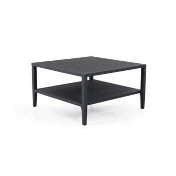 Sofabord med pulverlakkert, sort matt aluminiumsramme. Bordplate og hylle i alumuminum
