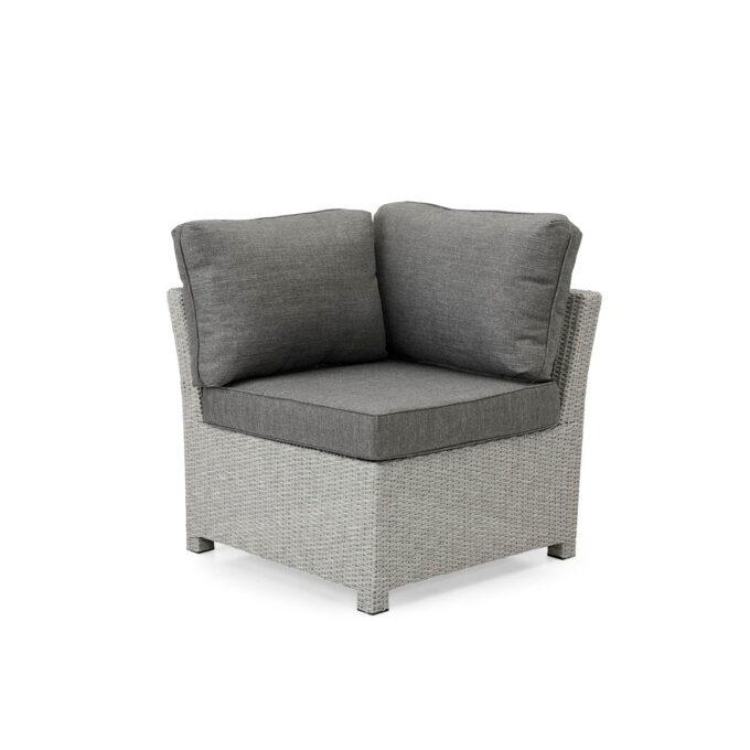 Sofagruppe Adams - Hjørnedel i grå kunstrotting på hvit bakgrunn