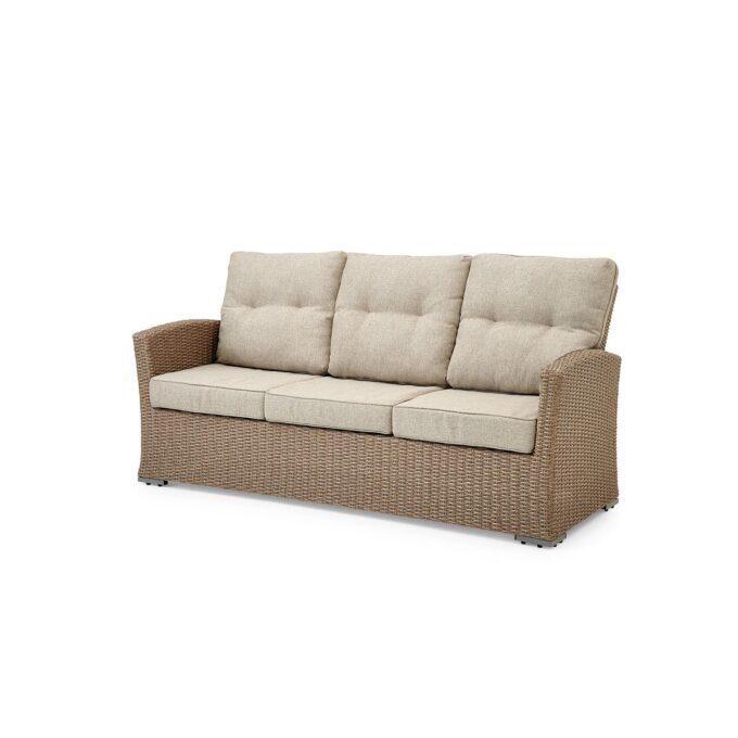 3-seter sofa Ashfield i beige kunstrotting med god sittekomfort og hvit bakgrunnsbilde
