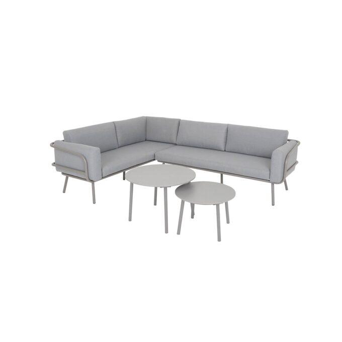 Hjørnegruppe Barinas i aluminum med sofabord og hvit bakgrunnsbilde