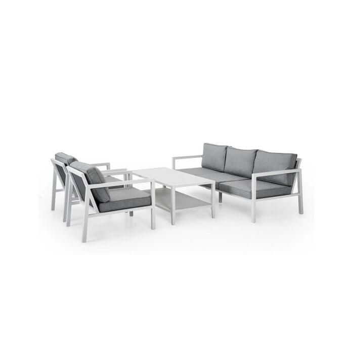 Sofa 3-seter og hagestoler Belfort med sofabord på hvit bakgrunn