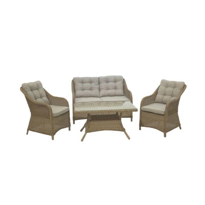 Sofagruppe Lilleholm i naturfarget kunstrotting med sofabord på hvit bakgrunn