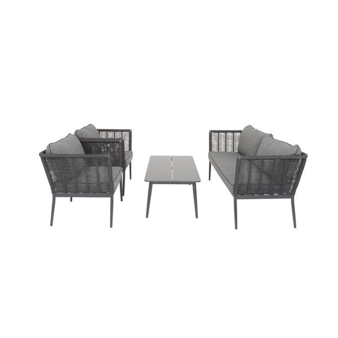 Sofagruppe Sacaba i sort aluminium og bord på hvit bakgrunn