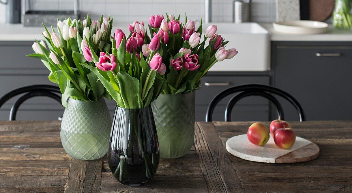 tulipaner hvit rosa spisebord kjøkken