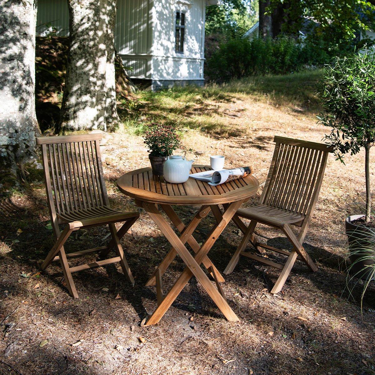 2 klappstoler + bord | Hagemøbler, Teak, Bord