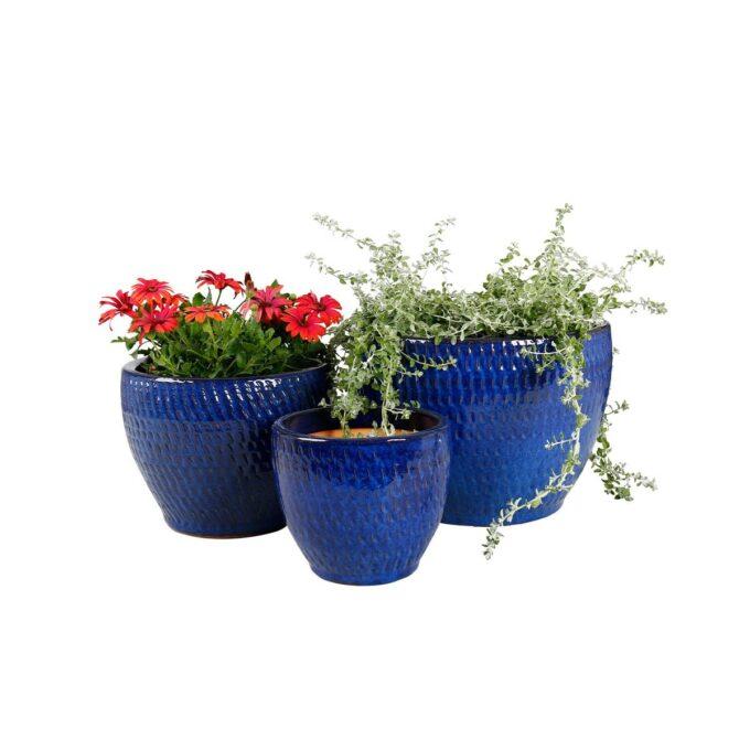Blå Atlanta utepotter med planter