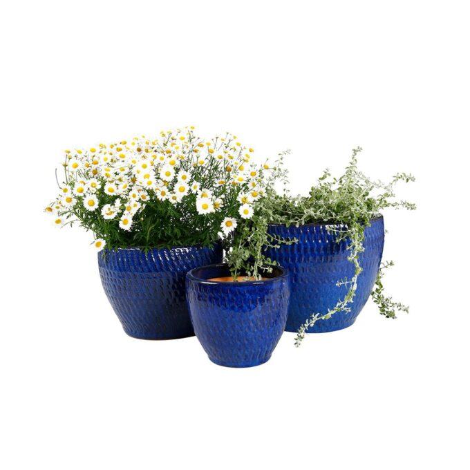 Tre blå Atlanta utepotter med blomster