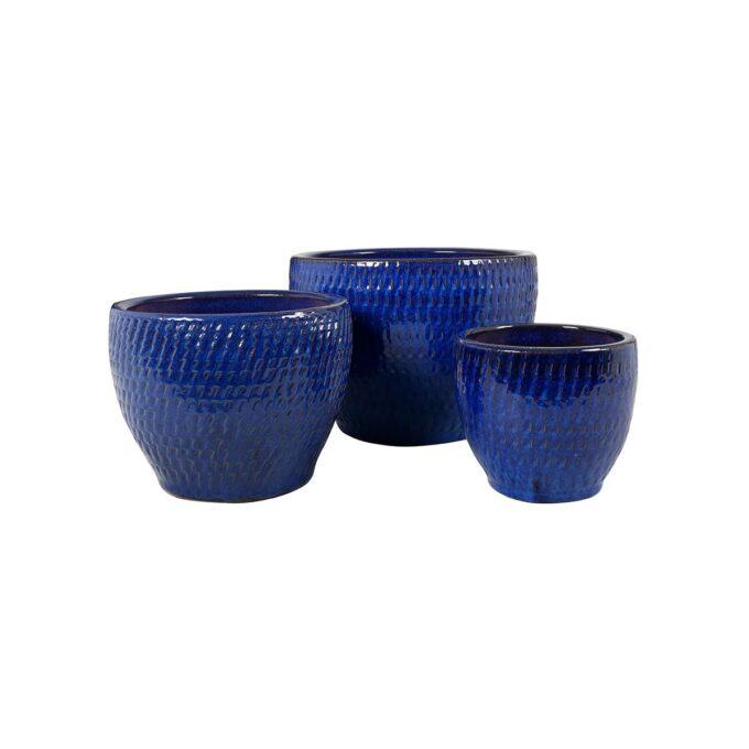 Atlanta utepotter i blå keramikk med mønster