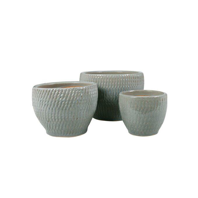 Atlanta utepotter i grå keramikk med mønster