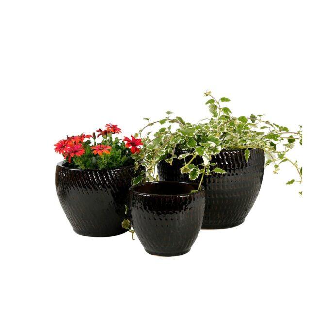 Sorte atlanta utepotter med planter og blomsterplanter