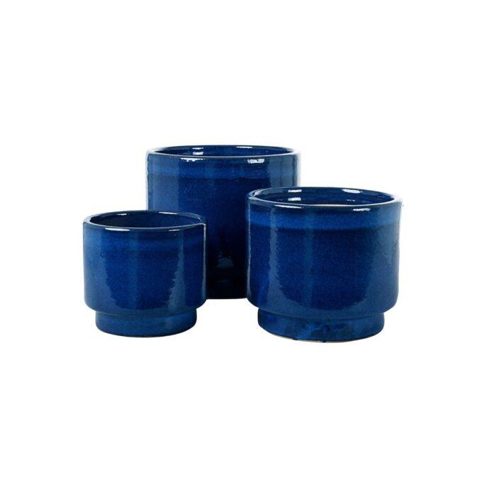 Calisto utepotter i glasert keramikk, blå
