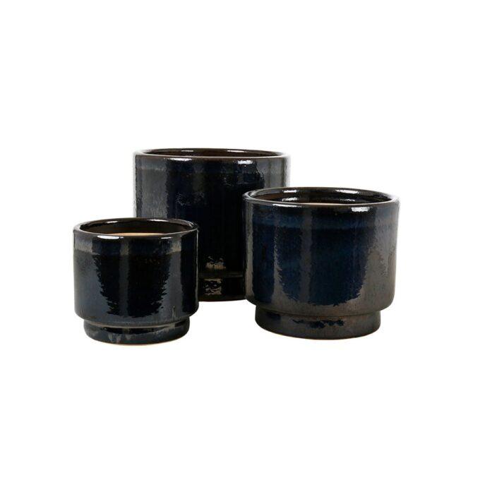 Calisto utepotte glasert keramikk sort