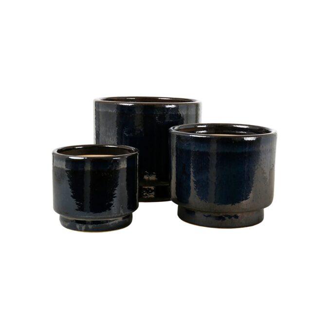 Calisto utepotter - glasert keramikk, sort