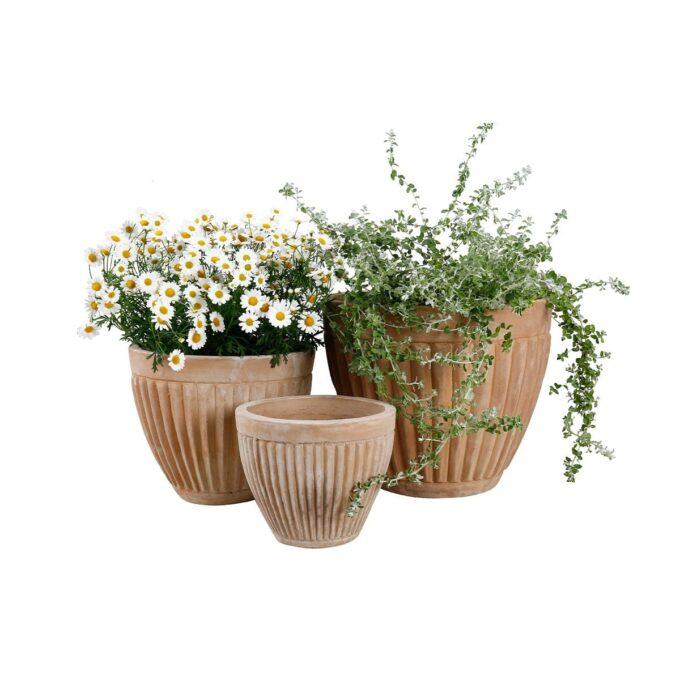 Genova utepotter, her med planter