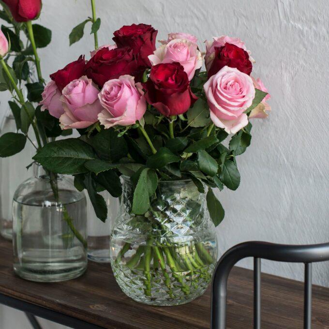 Røde og rosa roser i glassvase Vase, glass, Ø 15,5 cm