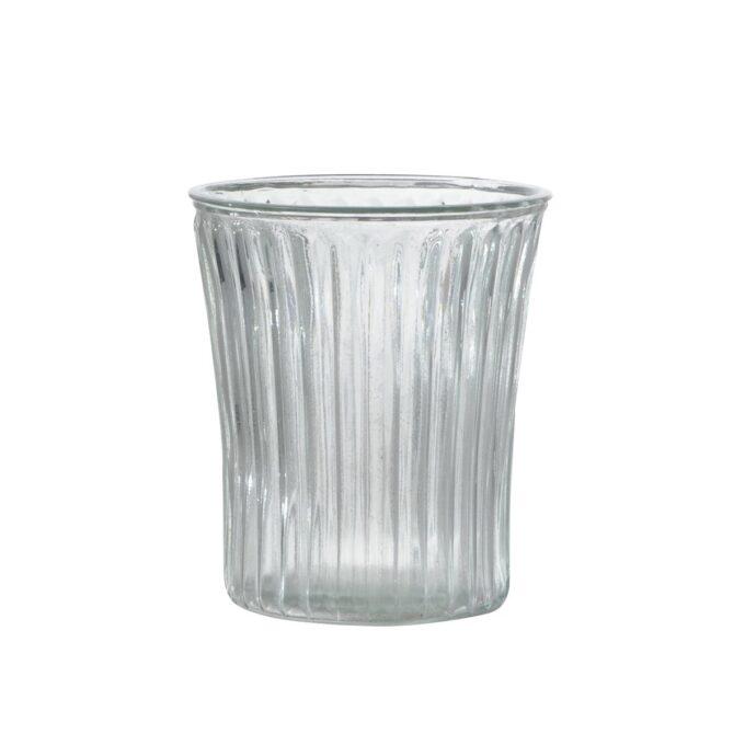 Vase, glass m/riller, diameter 14,8 cm