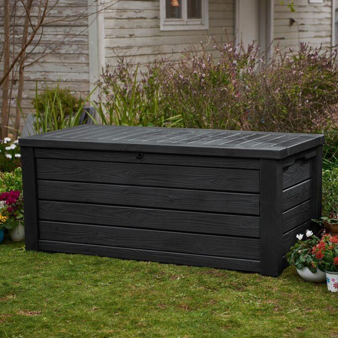 Putekasse til oppbevaring av hageputer, leker. Laget av vedlikeholdsfri hardplast, slitesterkt og tåler norsk klima