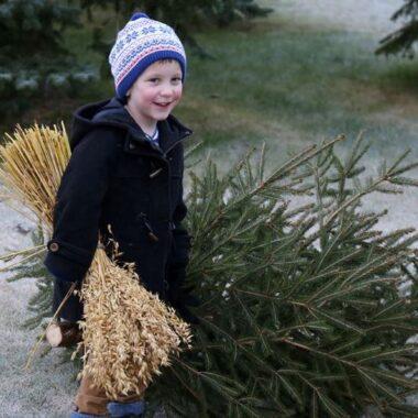 Barn smiler ved siden av juletre og holder havre